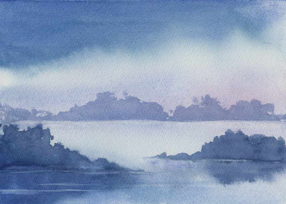 Misty Waters (watercolour)