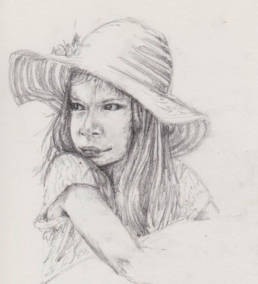 Girl in a Pink Hat (Graphite Sketch)