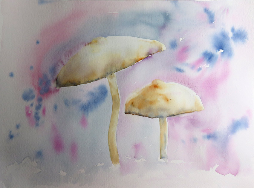 Mushrooms Wet into Wet (Watercolour)