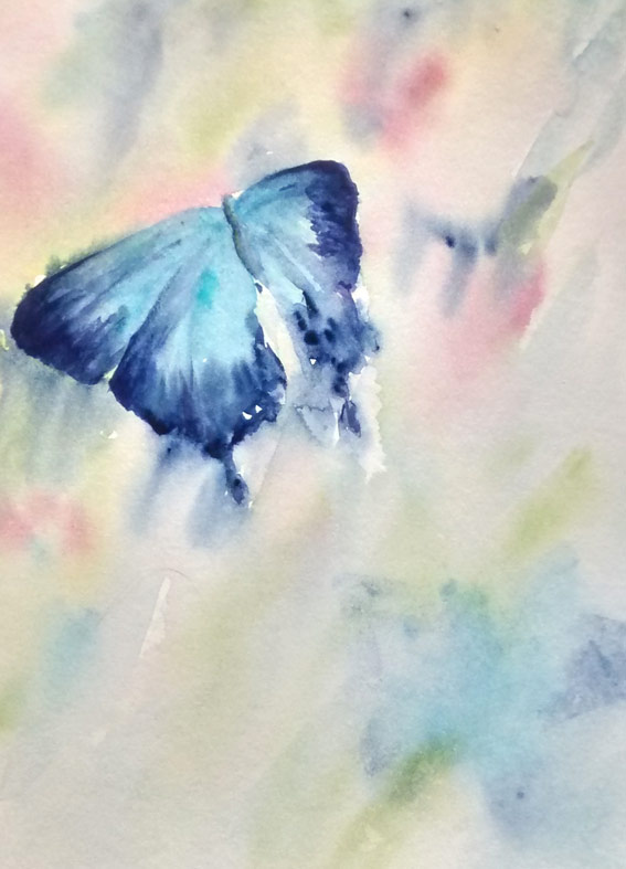 Blue Butterfly (Watercolour)