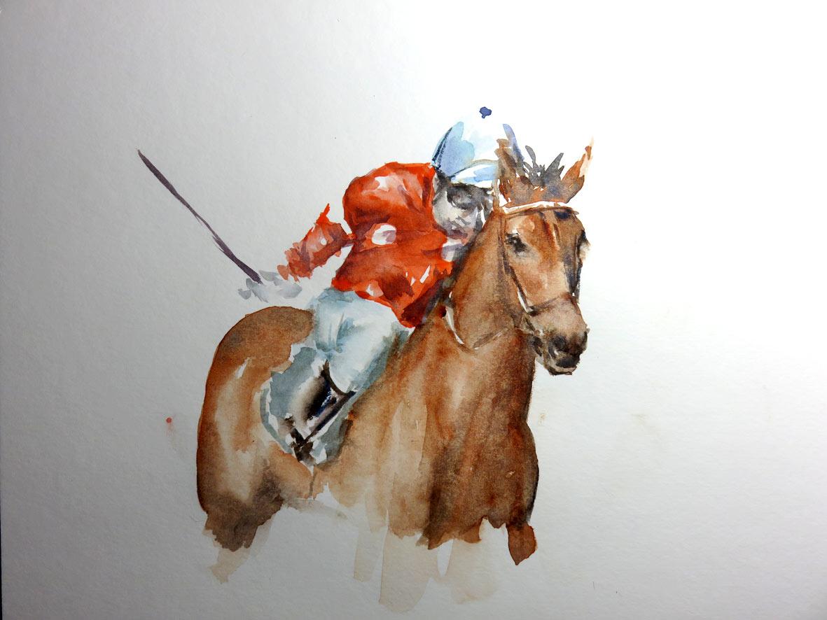 Melbourne Cup Racehorse (watercolour)