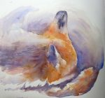 Day 10: Mammal - Sleeping Fox (Watercolour)