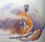 Day 10: Mammal - Sleeping Fox (Watercolour)